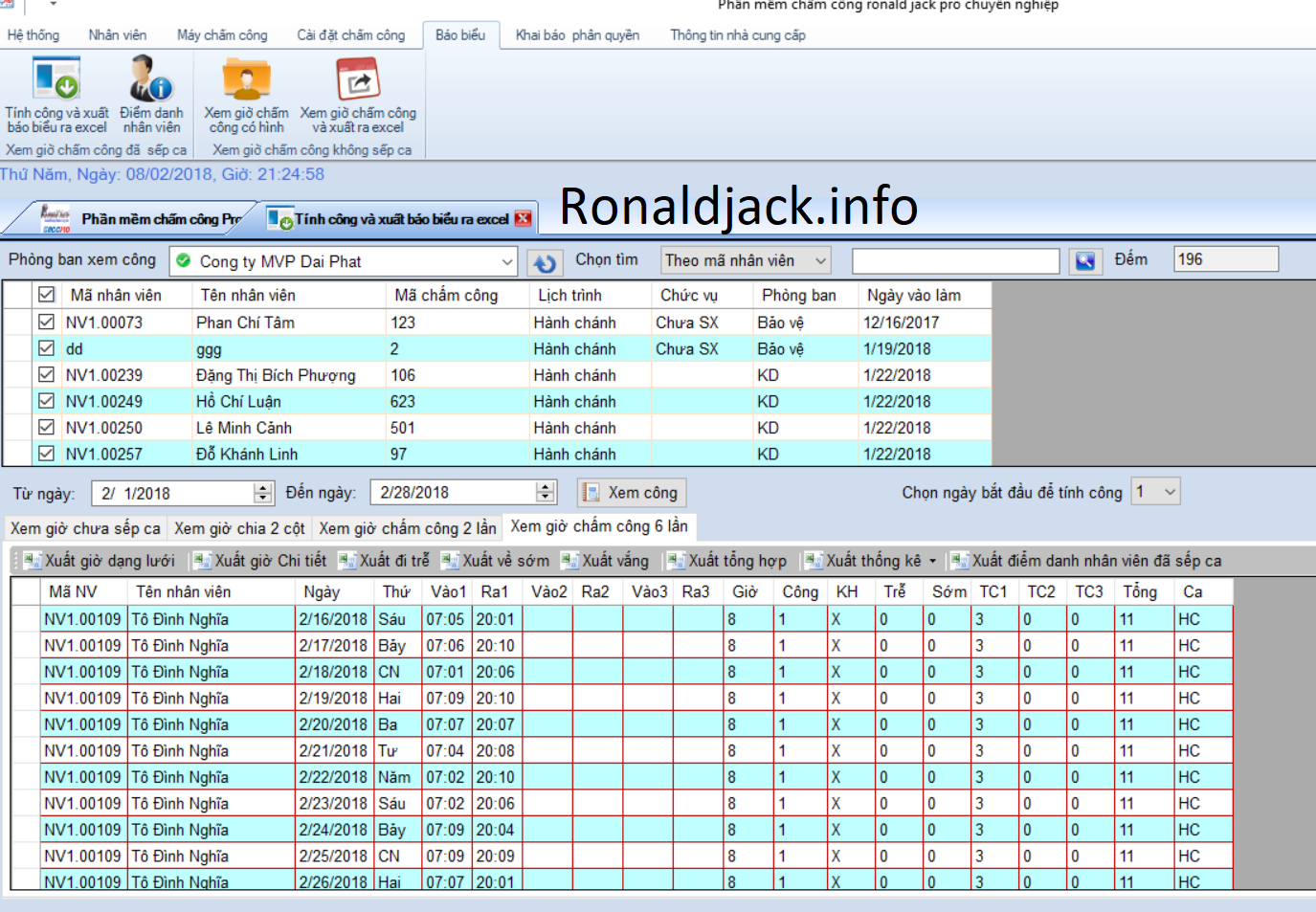 phần mềm chấm công ronald jack software xem công xuất báo cáo
